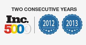 Two Consecutive years Inc 5000 Logo